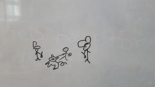 A disabled student's drawing depicting bullies taking his money