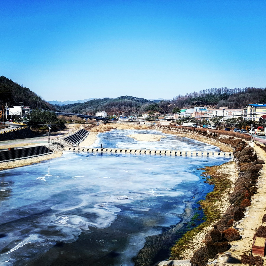 River in Bonghwa town centre, frozen over during winter