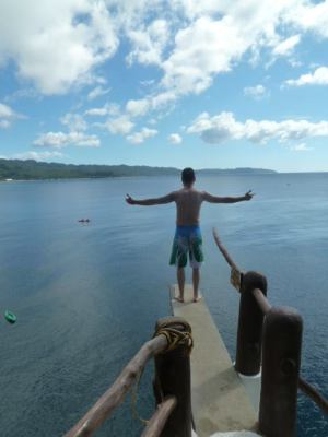 Me standing on diving board at cliff jumping in Boracay