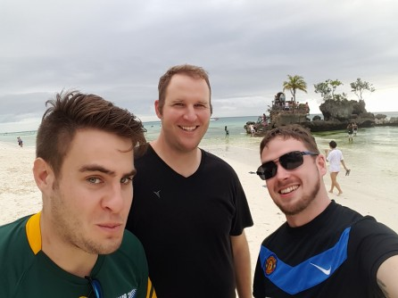 Two friends and I on a beach in Boracay