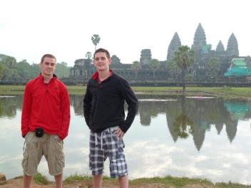 My brother and I at Angkor Wat - our first month of travel