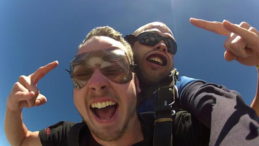 Close-up of my face skydiving