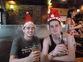 Paddy and I at an Irish bar on Koh Samui - Christmas morning 2011