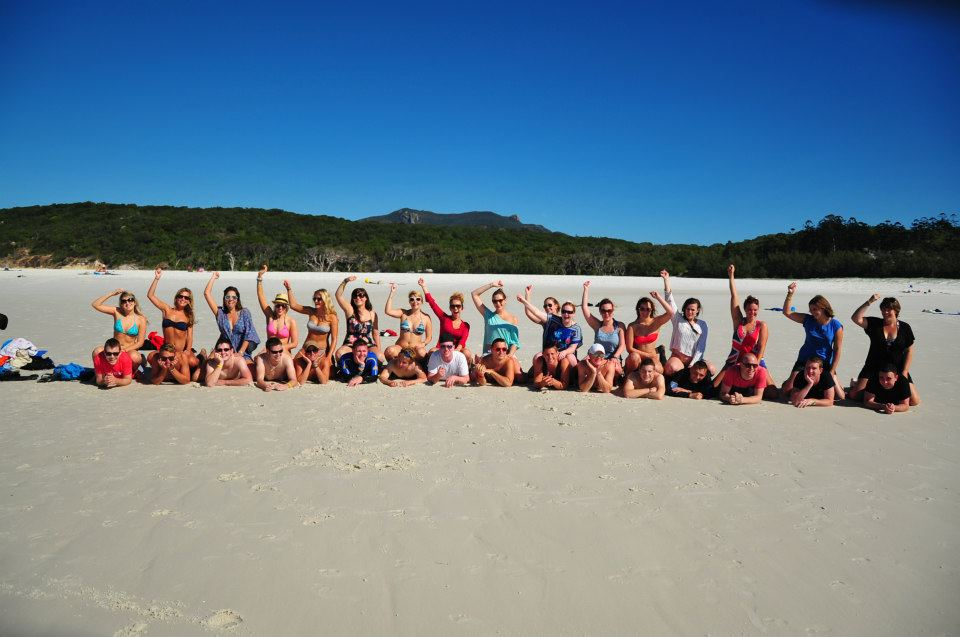 Tour group on Whitehaven beach, Australia